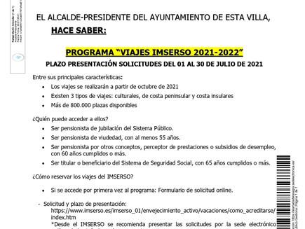 PROGRAMA VIAJES IMSERSO 2021-2022