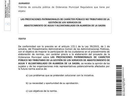 ANUNCIO CONSULTA PÚBLICA ORDENANZA REGULADORA