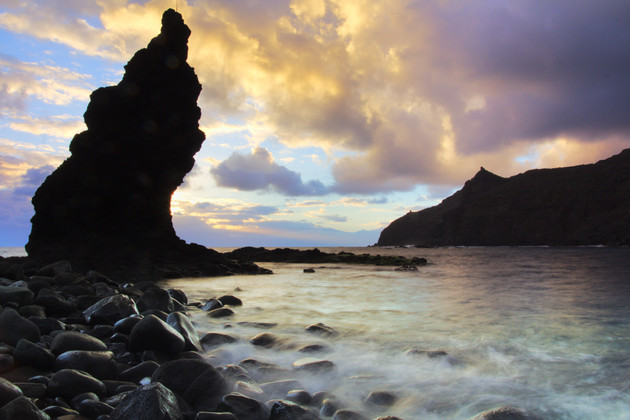 Sunrise at the rocky beach of La Caleta