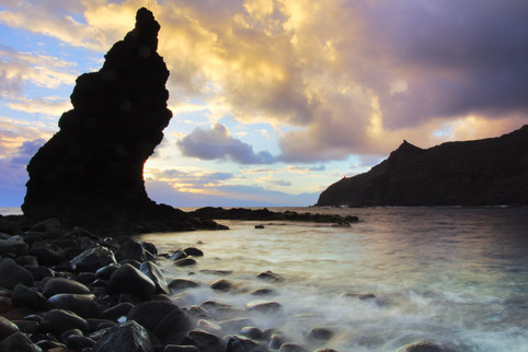 Sunrise at the rocky beach of La Caleta