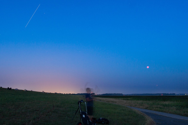 ISS, Mars and eclipsed moon together