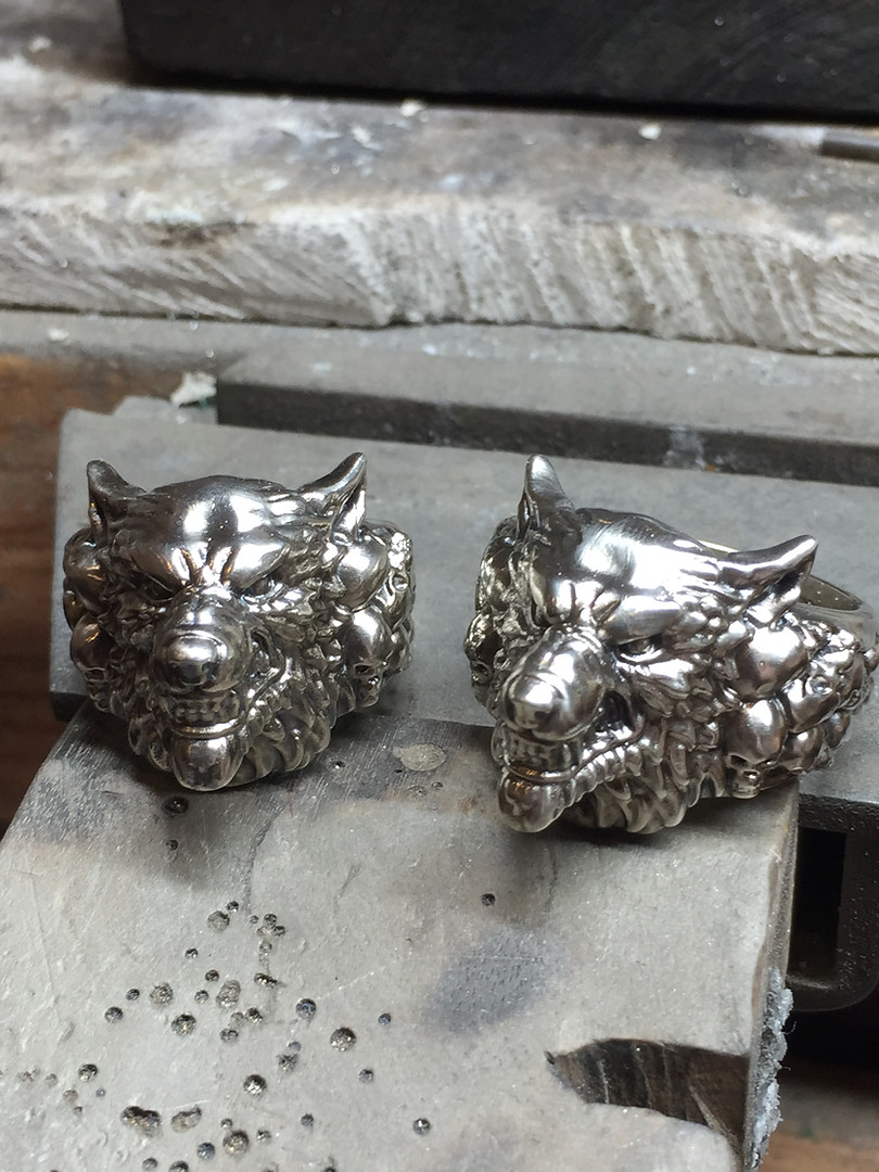 TWJ Custom Wolfs Head Rings