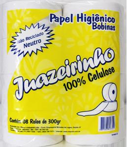 Papel Higiênico Juazeirinho 300 - 100% Celulose - 8x200mt