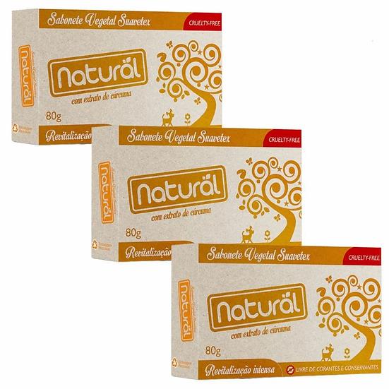 Kit 3 Sabonete Natural Suavetex com Extrato de Cúrcuma 80g
