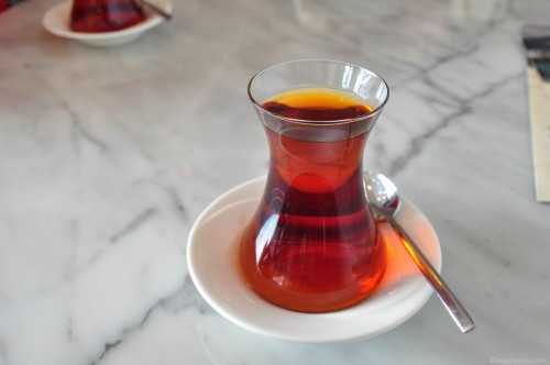Traditional turkish tea served in a glass