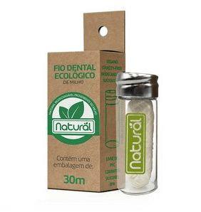 Fio dental ecológico de milho 30m (com embalagem reutilizável de vidro