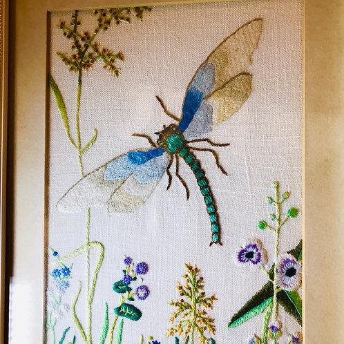 Vintage framed silk needlework subject - Dragonfly
