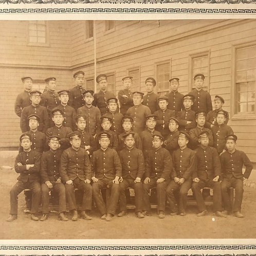 Vintage Japanese photographic print of Japanese school boy group in uniform.