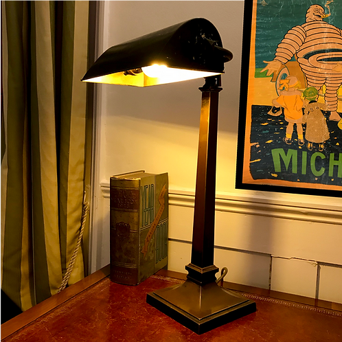 1920s Cold Forged Bronze, Tall Arm Bankers Lamp.