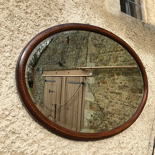 Antique inlaid Edwardian mahogany oval mirror ' overmantle mirror