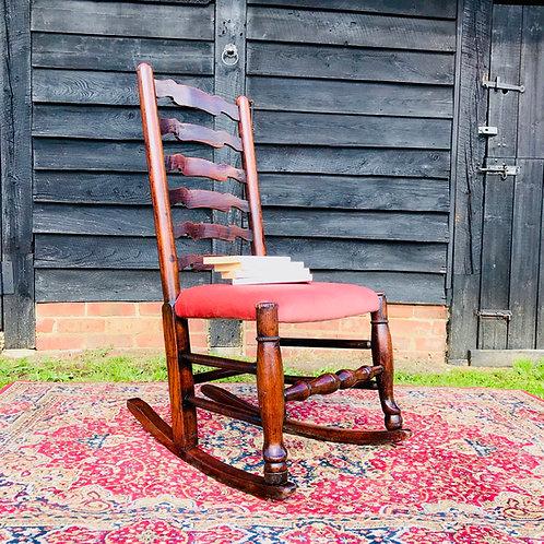 19thCentury Oak Frame Ladderback Rocking Chair.