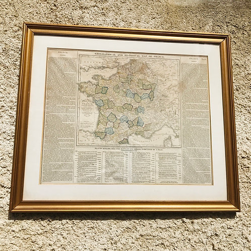 Framed Antique Map, Geographical, Historical and Statistical Map of France, 1828