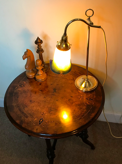 Early 20th Century French Student Desk Lamp with Art Nouveau frosted glass shade