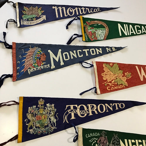 Vintage Mid Century Canadian Pennants  x 6