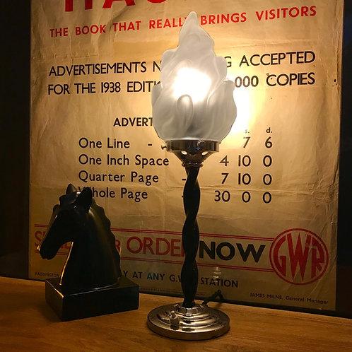 Art Deco spiral twist black and chrome Charleston desk lamp