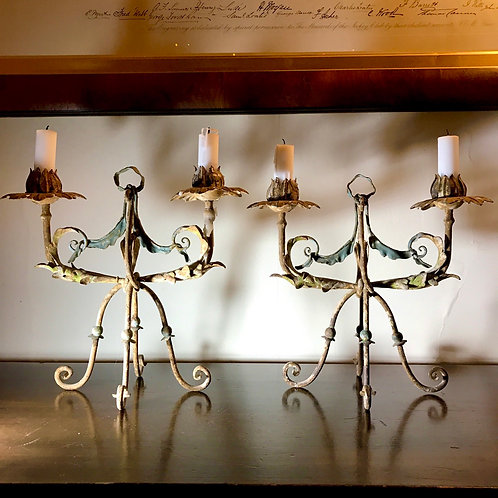 Attractive pair of French, vintage, wire form candelabra.