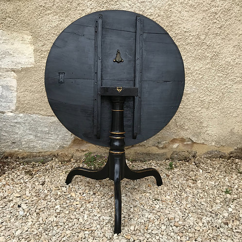 Antique mahogany tilt top tripod table refreshed in ebony black livery