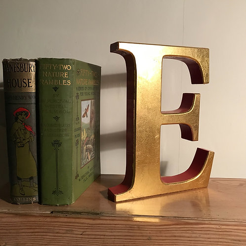 "Salvaged composite material 8.5"" sign letter E gilded finish"