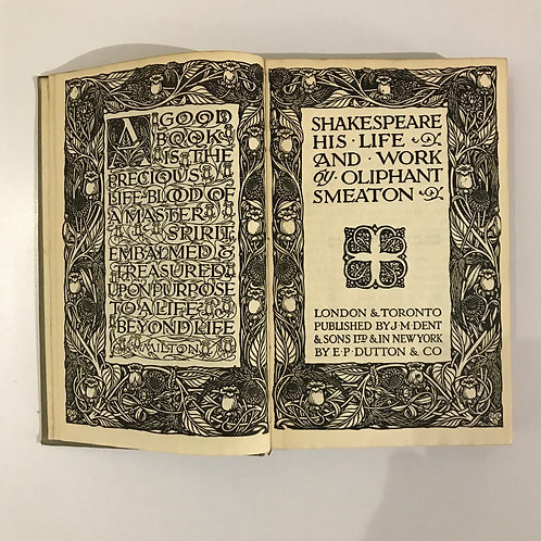 Shakespeare His Life and Work - Oliphant Smeaton - 1922