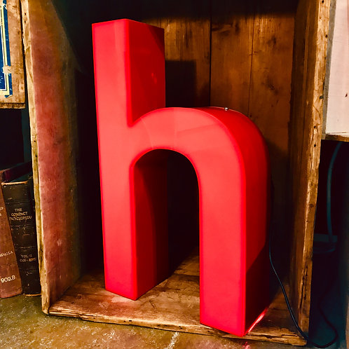 Salvaged illuminated shop sign letter - h