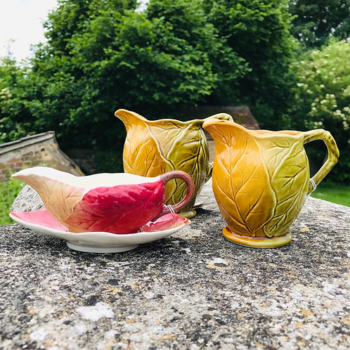 Royal Winton Pottery Mid 20thCentury Leaf Pattern set x 3