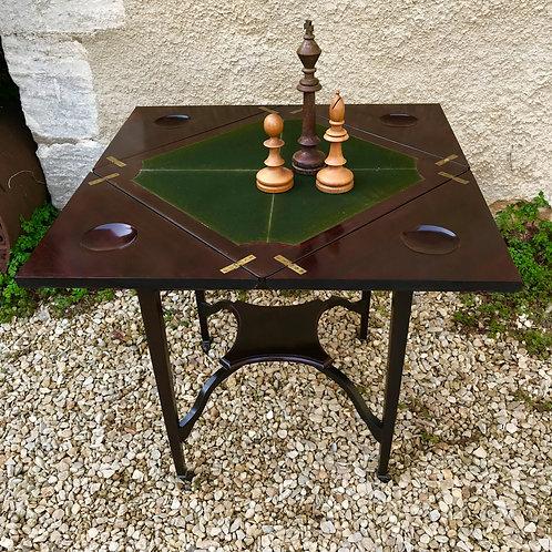 Edwardian mahogany rotating envelope top card / games table.