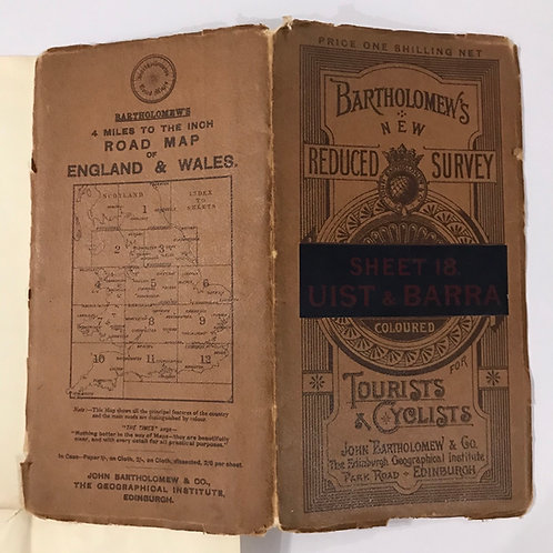 Circa 1900 Bartholomew's Reduced Survey Map - Uist & Barra Scotland