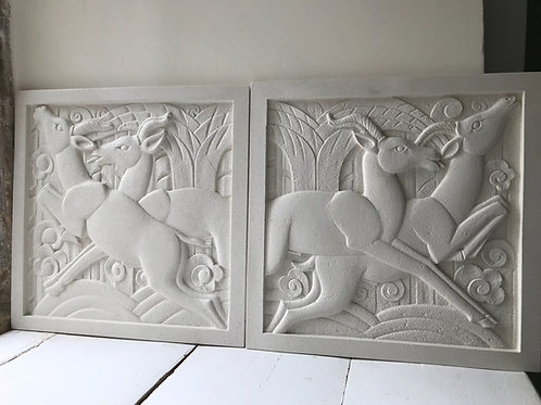 Pair of Art Deco Portland Sculpted Wall Plaques LH & RH