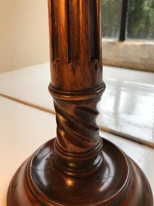 Gothic Victorian Oak Candlestick