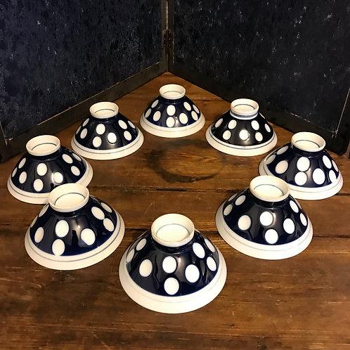 Mid Century Bone China Rice bowls - Polka dot design