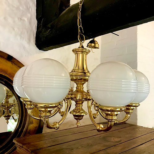 6 branch brass chandelier with ribbed milk glass globes