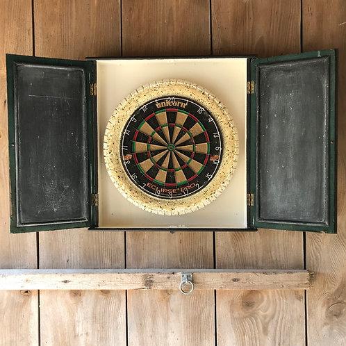 Salvaged vintage pub darts cabinet including professional Unicorn dartboard