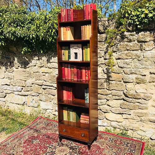 Antique Solid Mahogany Slim Waterfall Bookcase