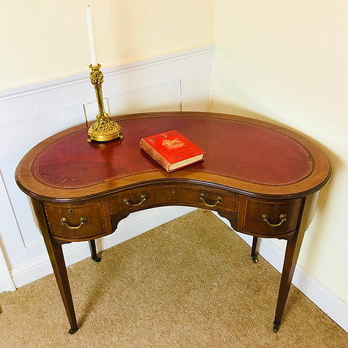 Edwardian ladies inlaid mahogany kidney design writing desk