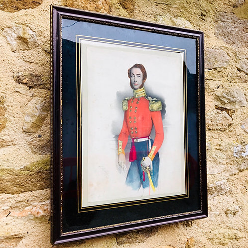 Hand coloured antique Cavalry Officer print from engraving J Melcher 1848