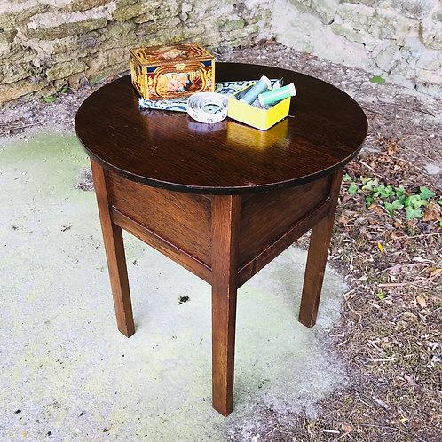 Mid 20thCentury Circular Sewing Table in Oak