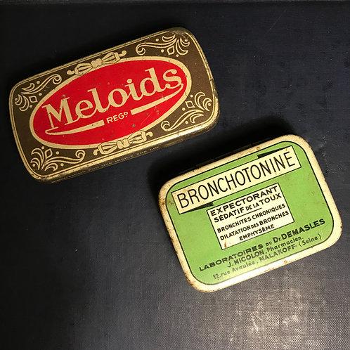 Vintage medicine tins Meloids & Bronchotonine