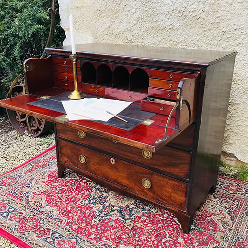 19th Century George lll Mahogany secretaire bureau chest of drawers.