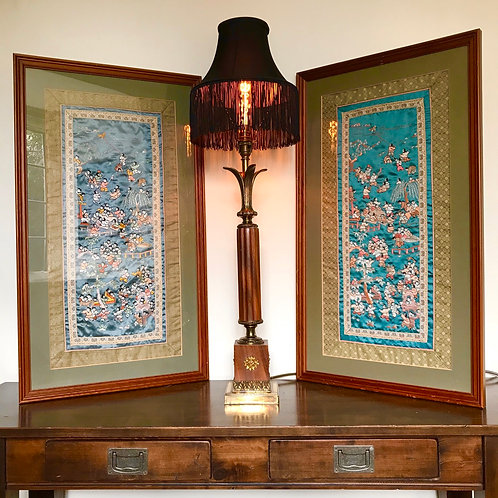 Pair of vintage oriental framed silk embroidered textiles