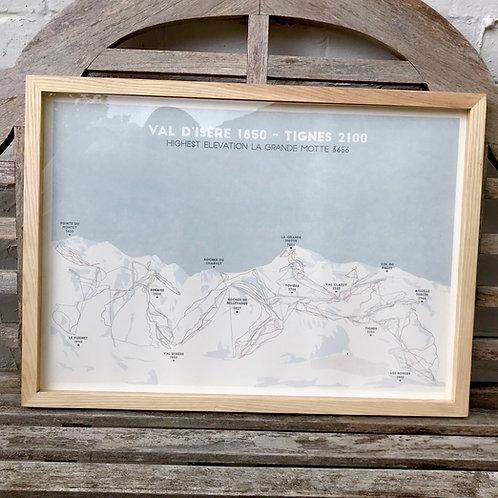 Framed mapping artwork print of Val D'Isere ski resorts and ski runs