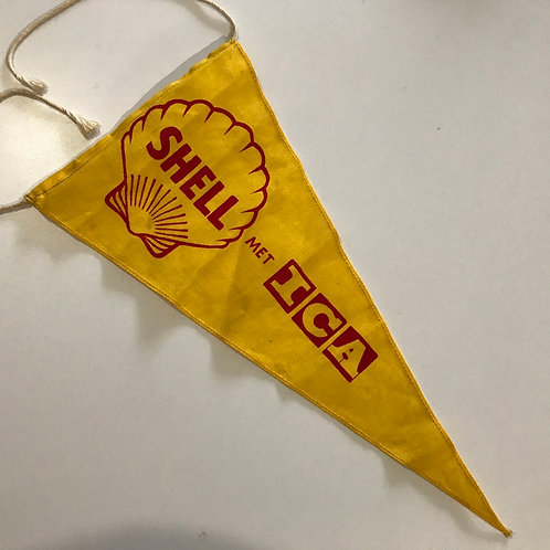 Small vintage Shell Met - ICA Pennant - red on yellow