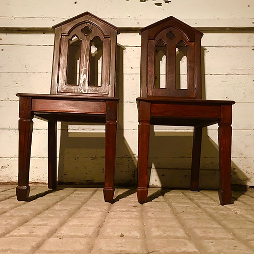 Pair of Pitch Pine Gothic Revival Style Hall Chairs