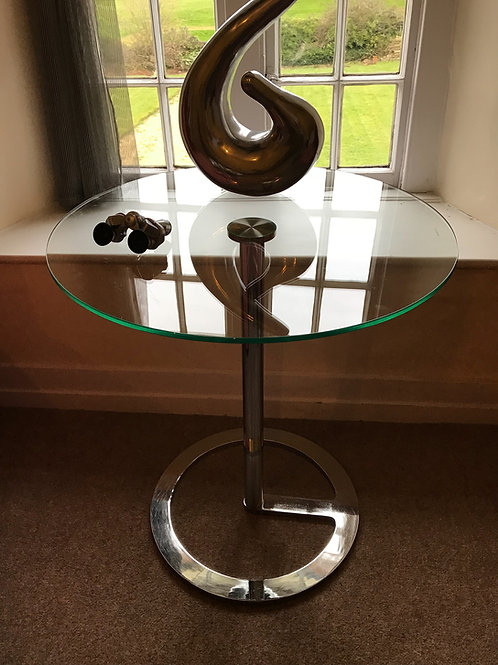 'Rota' Modernist toughened glass and polished steel side table by Boss Design