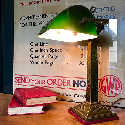 Fine quality Edwardian Bankers Desk Lamp