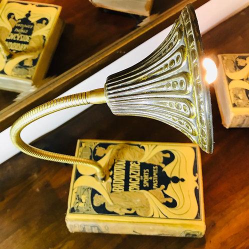 Art Nouveau inspired swan neck book lamp.