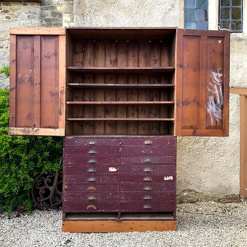 Pitch Pine Victorian School Cupboard - Pantry / Linen Cupboard