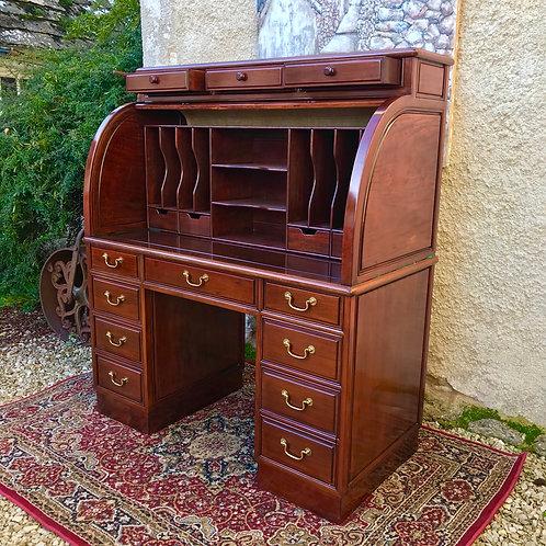 Polished Hardwood Roll-Top Desk