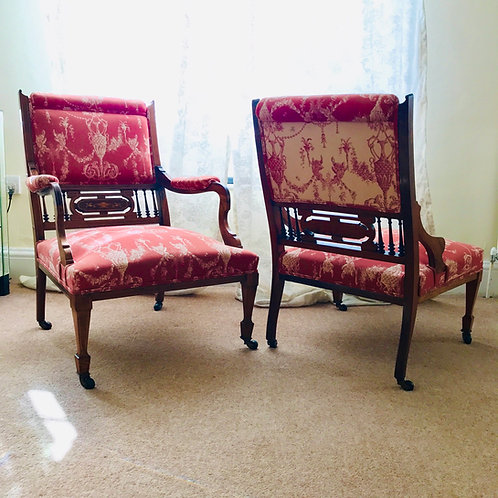 Matched Pair of Inlaid Rosewood Bedroom Chairs - Circa 1890