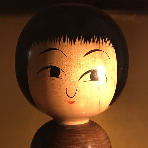 High quality vintage Kokeshi doll, wood grain body.