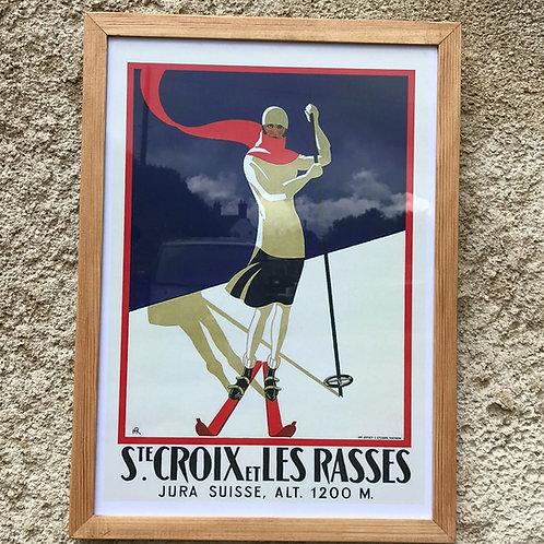 Framed vintage ski resort poster - Ste-Croix – Les Rasses